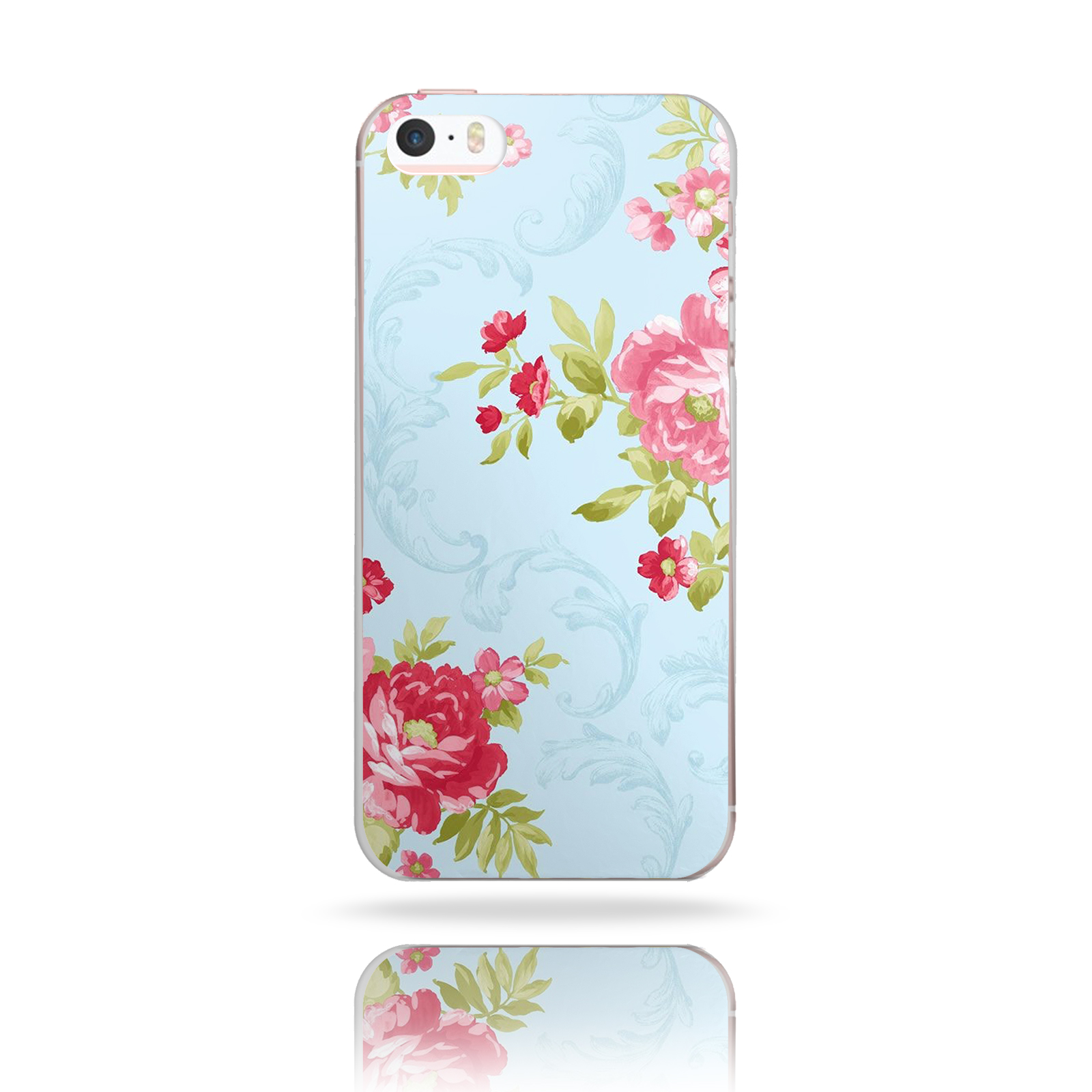 BG0092 SHABBY CHIC BLUE WITH PINK FLOWERS PRINT