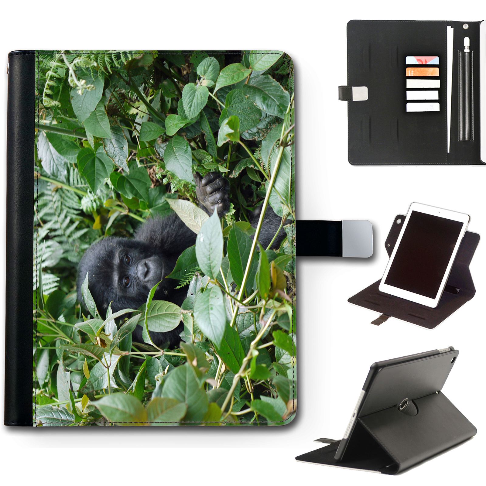 HAIRYWORM-ZOO-ANIMALS-APPLE-IPAD-LEATHER-CASE-360-SWIVEL-TABLET-COVER-FOR-I-PAD