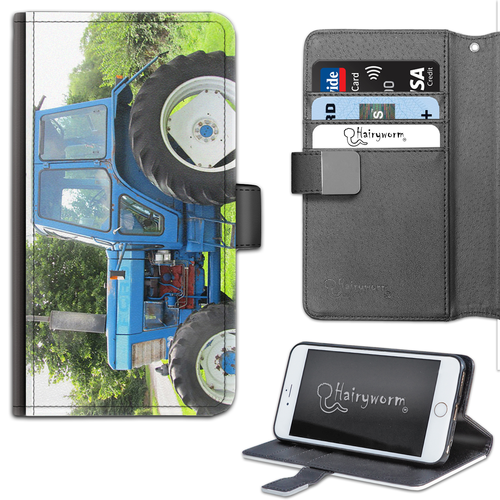 TRACTOR-PHONE-CASE-IPHONE-6-7-8-PLUS-X-LEATHER-FLIP-WALLET-CASE-COVER-FOR-APPLE miniatuur 10