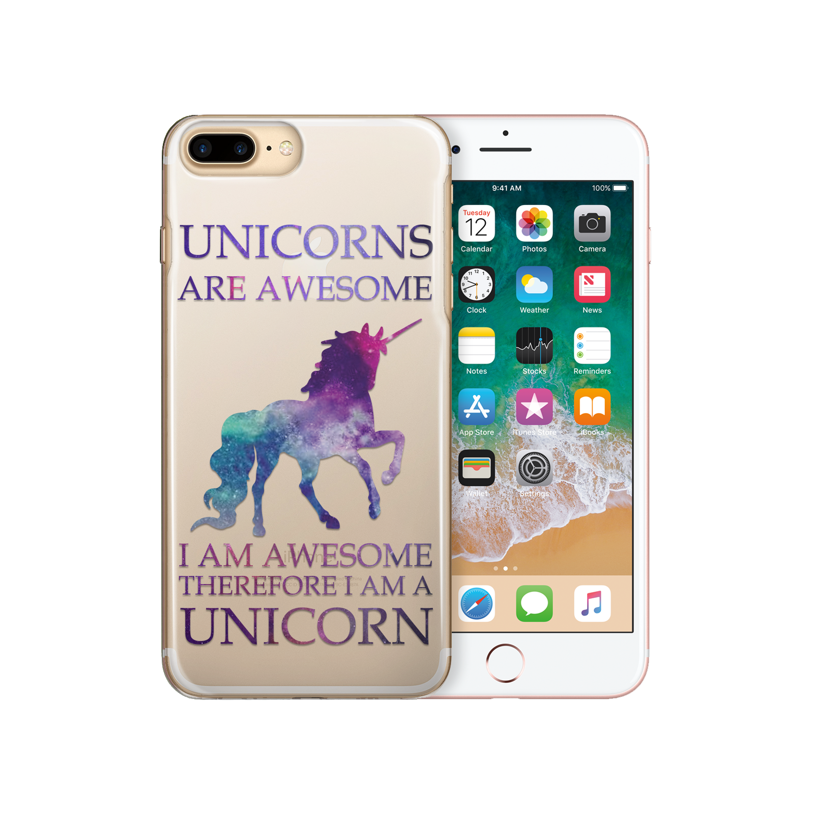 HAIRYWORM-FUNNY-UNICORN-ON-CLEAR-PLASTIC-PHONE-CASE-HARD-CASE-FOR-APPLE-IPHONE